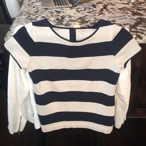 Tops - Loft stripped black and cream top small.